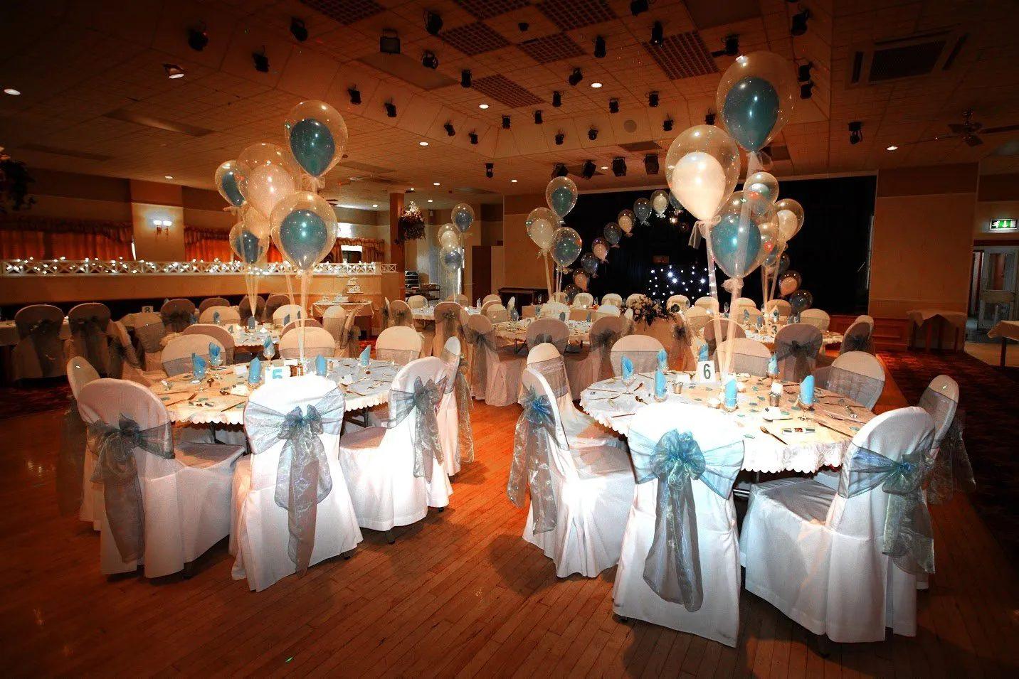 Standard Triumph Club blue and white wedding reception